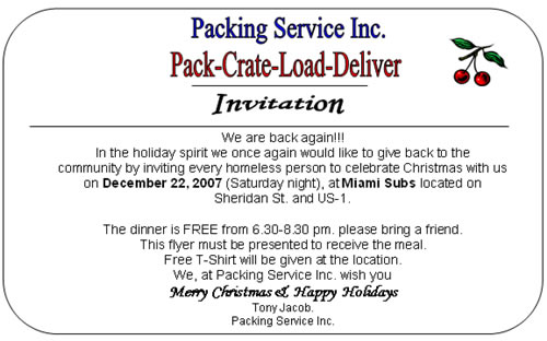 Packing Service Inc.  wanted to give back to the community Christmas eve 2007