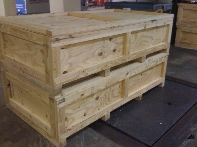 Pictures of wooden boxes and crating services